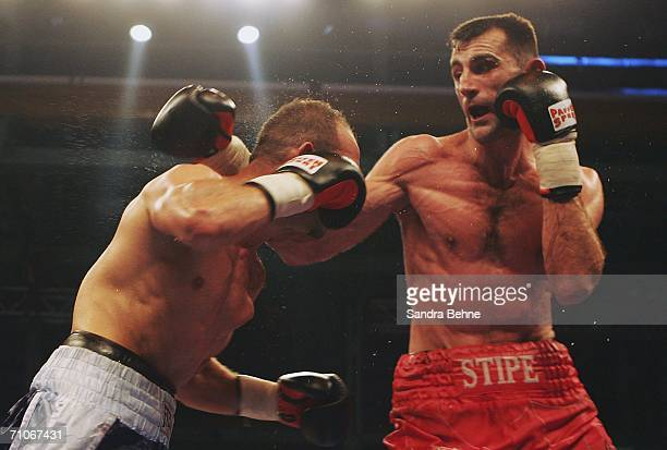 Stipe Drews of Croatia and Kai Kurzawa of Germany in action during their European Light-Heavyweight fight at the Kulturhalle on May 27, 2006 in...