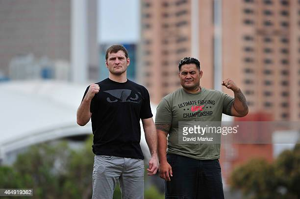 Stipe Miocic and Mark Hunt pose during the UFC Adelaide Media Opportunity at Montefiore Hill Adelaide on March 2 2015 in Adelaide Australia