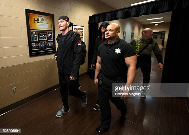 Stipe Miocic arrives to the arena during the UFC 195 event inside MGM Grand Garden Arena on January 2, 2016 in Las Vegas, Nevada.