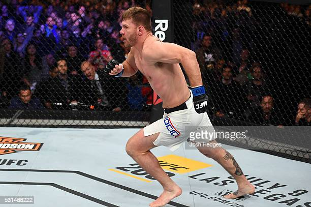 Stipe Miocic celebrates after defeating Fabricio Werdum of Brazil by KO in their UFC heavyweight championship bout during the UFC 198 event at Arena...