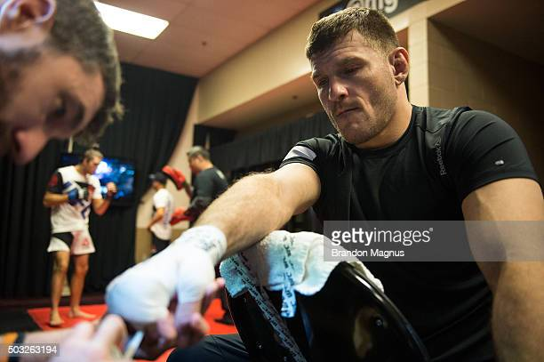 Stipe Miocic gets his hands wrapped backstage during the UFC 195 event inside MGM Grand Garden Arena on January 2, 2016 in Las Vegas, Nevada.