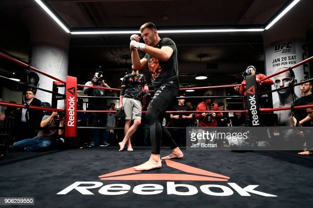 Stipe Miocic holds an open workout session for fans and media at Reebok Headquarters on January 17 2018 in Boston Massachusetts