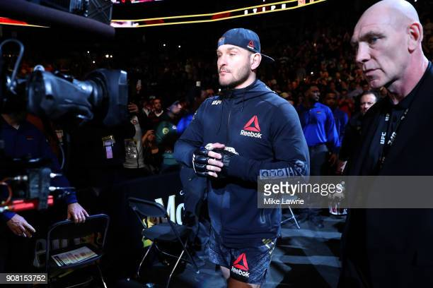 Stipe Miocic is introduced for his Heavyweight Championship fight against Francis Ngannou during UFC 220 at TD Garden on January 20 2018 in Boston...