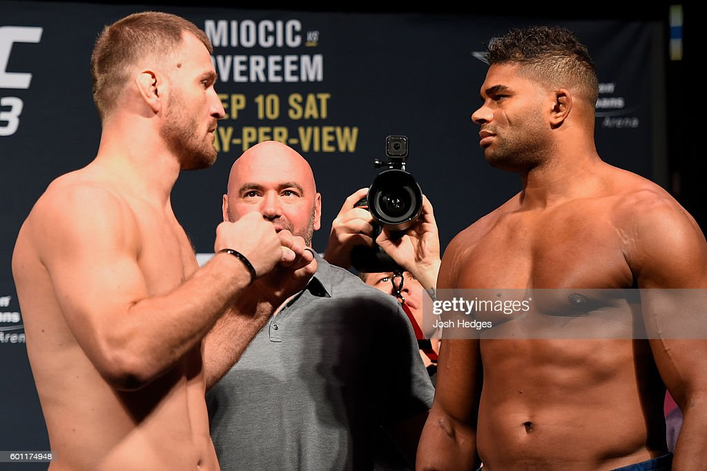 Stipe Miocic of the United States and Alistair Overeem of the Netherlands face off during the UFC 203 Weigh-in at Quicken Loans Arena on September 9, 2016 in Cleveland, Ohio.
