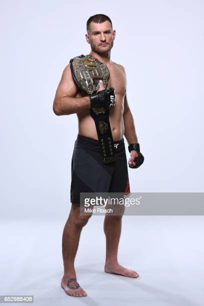 Stipe Miocic of the United States poses for a portrait during a UFC photo session on September 7 2016 in Cleveland Ohio