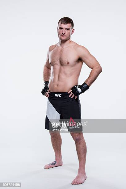 Stipe Miocic poses for a portrait during a UFC photo session inside the MGM Grand Conference Center on December 30 2015 in Las Vegas Nevada