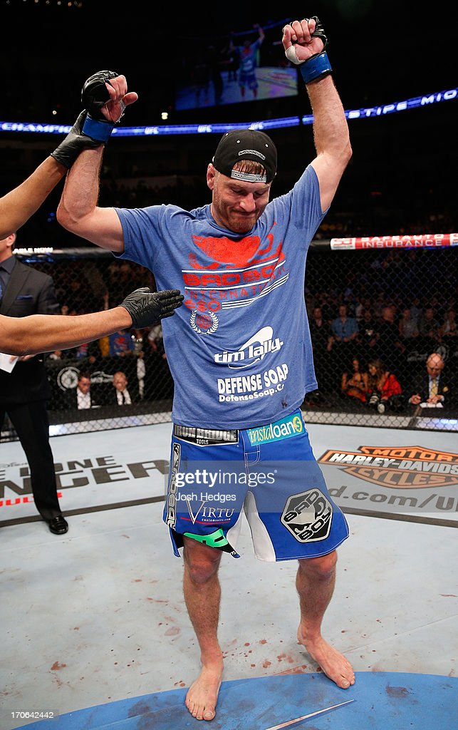 Stipe Miocic reacts after his victory over Roy Nelson in their heavyweight fight during the UFC 161 event at the MTS Centre on June 15, 2013 in Winnipeg, Manitoba, Canada.