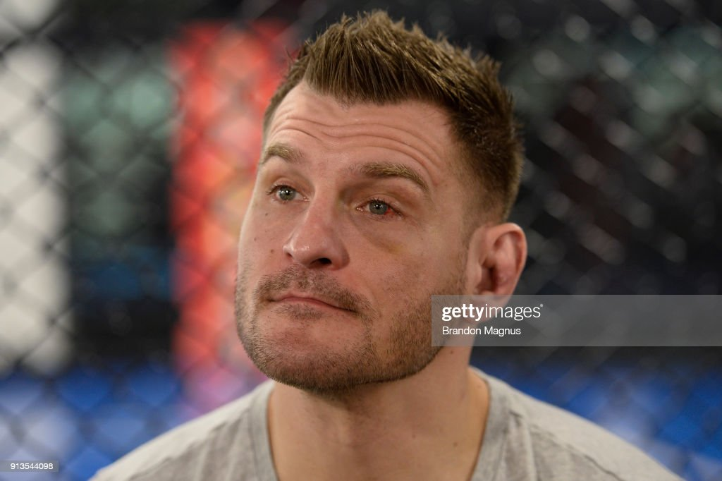 Stipe Miocic speaks to the media during the The Ultimate Fighter: Undefeated Cast & Coaches Media Day inside the UFC Performance institute on February 2, 2017 in Las Vegas, Nevada.