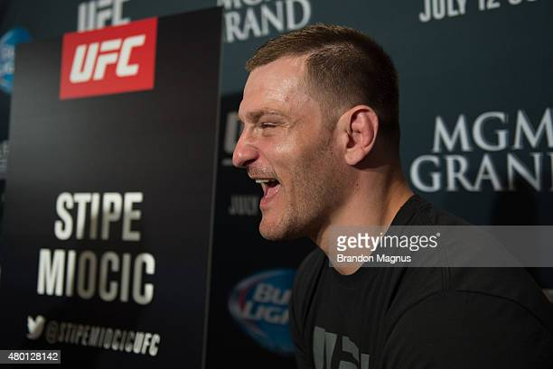 Stipe Miocic speaks to the media during the UFC International Fight Week Ultimate Media Day at MGM Grand Hotel Casino on July 9 2015 in Las Vegas...