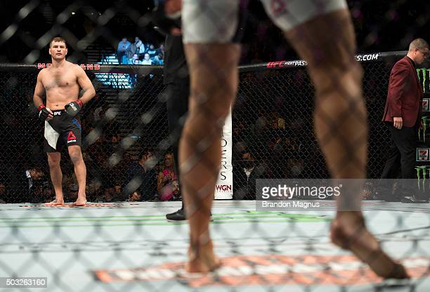 Stipe Miocic stands across from Andrei Arlovski in their heavyweight fight during the UFC 195 event inside MGM Grand Garden Arena on January 2, 2016...