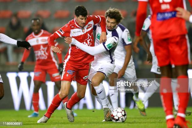Stipe Perica forward of Mouscron and Philippe Sandler defender of Anderlecht during the Croky Cup 1/8 final match between Excelsior Mouscron and RSC...