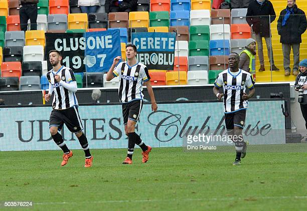 Stipe Perica of Udinese Calcio celebrate after scoring his team's second goal during the Serie A match between Udinese Calcio v Atalanta BC at Stadio...