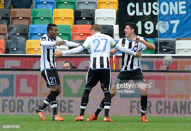 Stipe Perica of Udinese Calcio celebrate with their tema mate's Silvan Widmer and Andrade Edenilson after scoring his team's second goal during the...