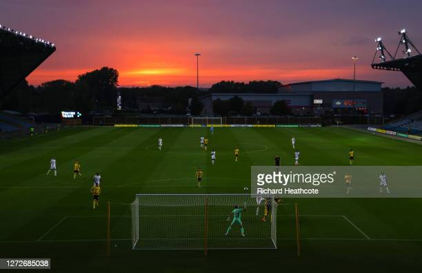 Stipe Perica of Watford heads at goal during the Carabao Cup Second Round match between Oxford United and Watford at the Kassam Stadium on September...