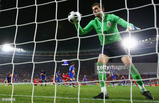 Stipe Pletikosa of Croatia collects the ball from the net after a goal by Semih Senturk of Turkey during the UEFA EURO 2008 Quarter Final match...