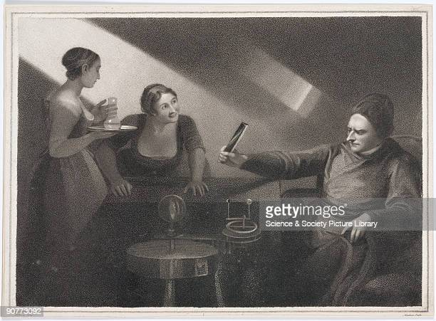 Stipple engraving by Meadows made in 1809 after a painting by George Romney 1796 An imaginary romanticised scene of Newton�s lightsplitting...