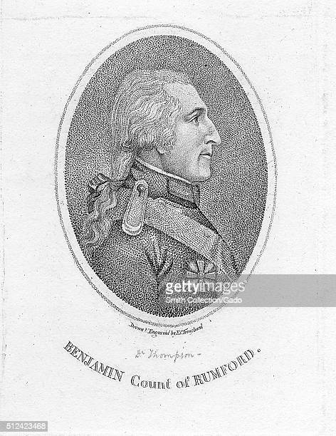 Stipple engraving of Benjamin Thompson, Count of Rumford, American-born British physicist and inventor whose challenges to established physical...