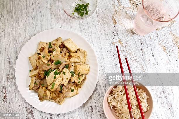 Stir fried pork and tofu slices