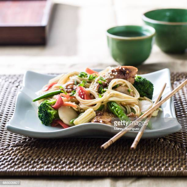 Stir fry on plate with chopsticks