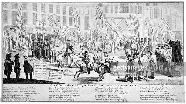 'A stir in the City or some folks at Guildhall' 1754 The scene is Guildhall Yard where a Jewish Lord Mayor is turned away by the beadles at the porch...