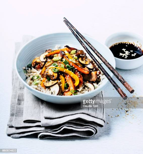Stir-fried pork with vegetables and rice