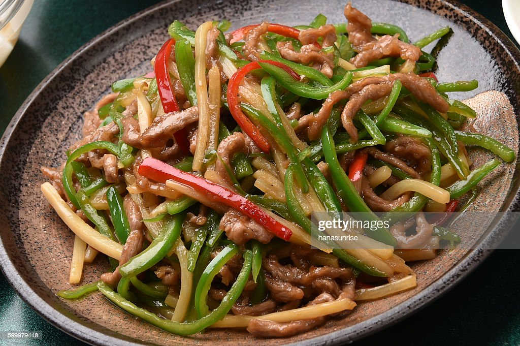 Stir-fried shredded beef and green pepper : Stock Photo