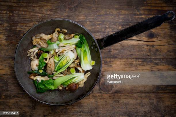 Stir-fry with Chinese cabbage, maitake, oyster and shitake mushrooms