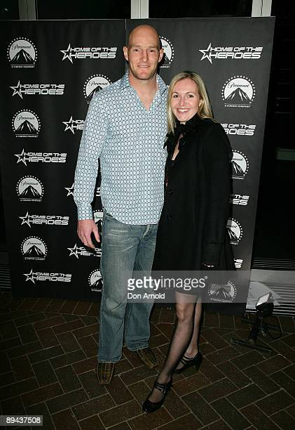 Stirling Mortlock and his wife arrive for the Paramount Home Entertainment Q4 launch at the Overseas Passenger Terminal on July 29, 2009 in Sydney,...