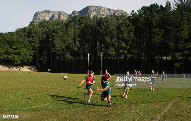 Stirling Mortlock passes the ball during the Australian Wallabies training session held at Westerford High School on August 3 2009 in Cape Town South...