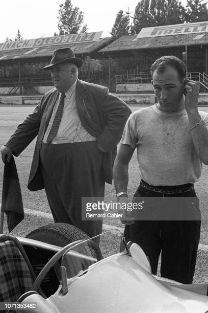 Stirling Moss, Alfred Neubauer, Mercedes W196, Grand Prix of Italy, Autodromo Nazionale Monza, 11 September 1955. Stirling Moss in the pits with...