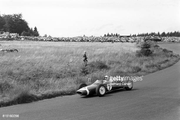 Stirling Moss, Lotus-Climax 18, Grand Prix of Germany, Nurburgring, Germany, August 6, 1961.