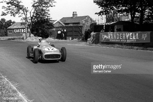 Stirling Moss, Mercedes W196, Grand Prix of Great Britain, Aintree Motor Racing Circuit, 16 July 1955. Stirling Moss on the way to a sensational...