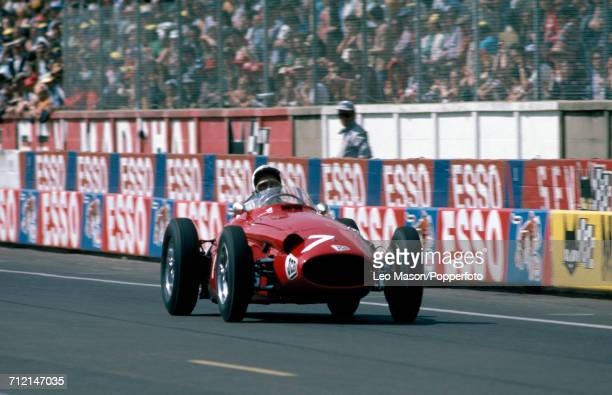 Stirling Moss of Great Britain driving a Maserati 250F to victory in the FIA European Historic Championship at Le Mans in France on 10th June 1978