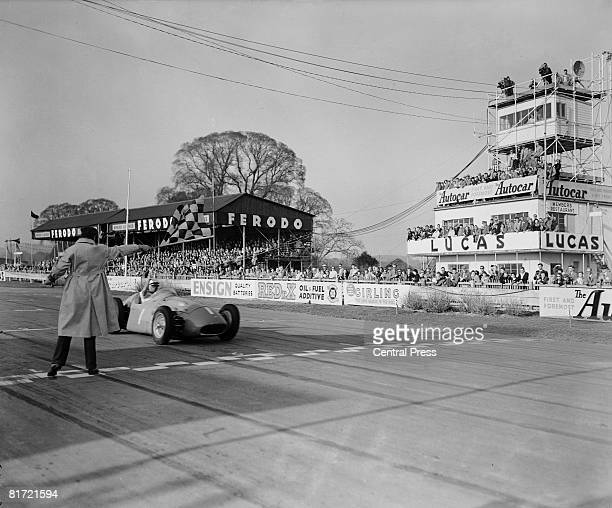 Stirling Moss wins the Richmond Formula One race for the Glover Trophy at Goodwood in his Maserati April 1956