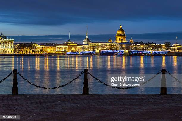 st.isaac's cathedral in st.petersburg, russia - neva river stock photos and pictures