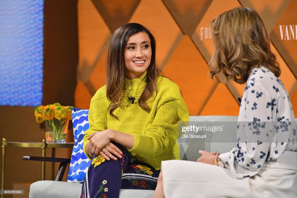 Stitch Fix founder and CEO Katrina Lake (R) speaks onstage during Vanity Fair's Founders Fair at Spring Studios on April 12, 2018 in New York City.