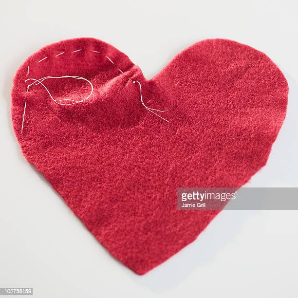 Stitched red heart