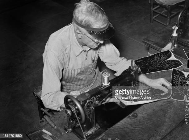 Stitching Pattern on Uppers of Boots in Boot Shop, Alpine, Texas, USA, Russell Lee, U.S. Office of War Information/U.S. Farm Security Administration,...