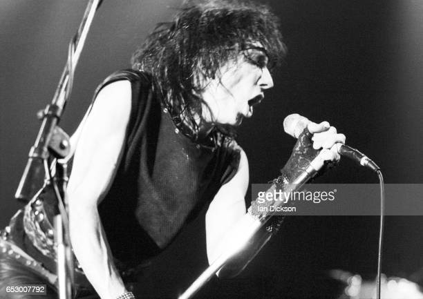 Stiv Bators of Lords Of The New Church performing on stage at The Lyceum London 31 October 1983