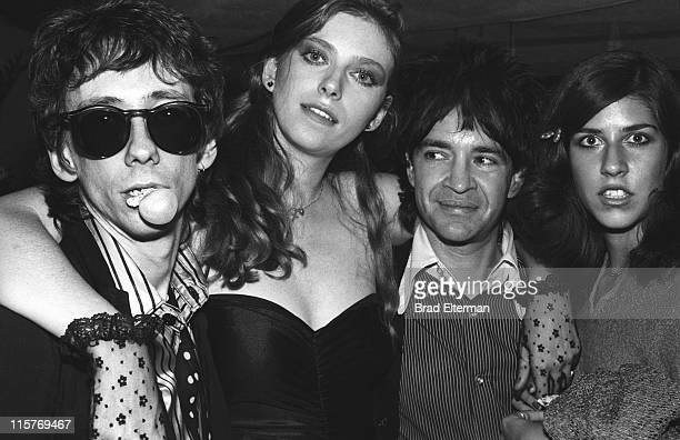 Stiv Bators of The Dead Boys Bebe Buell Rodney Bingenheimer and Maria Montoya attend a Blondie party at Firoucci in Los Angeles California...