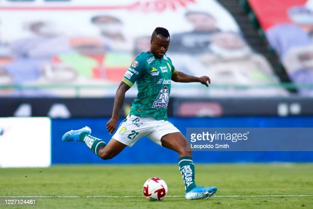 Stiven Barreiro of Leon kicks the ball during a match between Leon and FC Juarez as part of the friendly tournament Copa Telcel at Leon Stadium on...