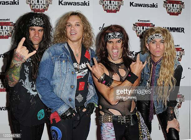 Stix Zadinia Michael Starr Satchel and Lexxi Foxx of Steel Panther attend the Metal Hammer Golden Gods Awards 2010 at Indigo2 at O2 Arena on June 14...