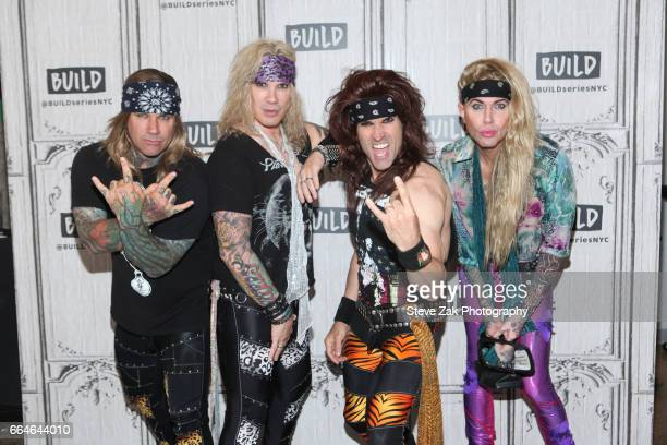 Stix Zadinia Michael Starr Satchel and Lexxi Foxx of Steel Panther attend Build Series to discuss 'Lower The Bar' at Build Studio on April 4 2017 in...