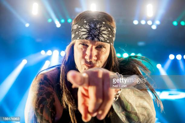 Stix Zadinia of Steel Panther performs on stage at Hammersmith Apollo on November 15 2012 in London United Kingdom