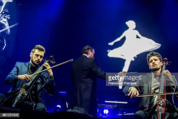Stjepan Hauser and Luka Sulic of 2Cellos Perform at Mediolanum Forum on March 30 2017 in Milan Italy