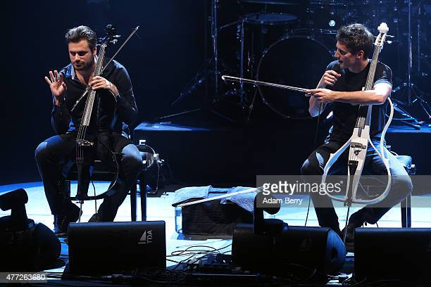 Stjepan Hauser and Luka Sulic of 2Cellos perform at FriedrichstadtPalast on June 15 2015 in Berlin Germany