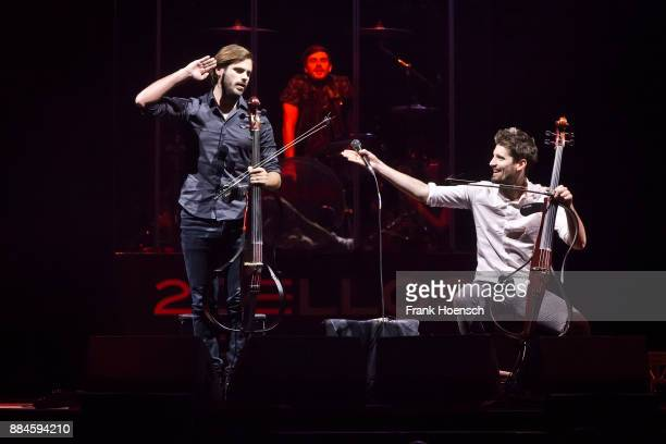 Stjepan Hauser and Luka Sulic of the CroatianSlovenian cellist duo 2 Cellos perform live on stage during a concert at the MercedesBenz Arena on...