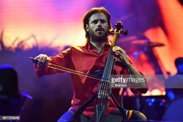 Stjepan Hauser of 2Cellos performs on stage during Day 3 of Kew The Music at Kew Gardens on July 12 2018 in London England