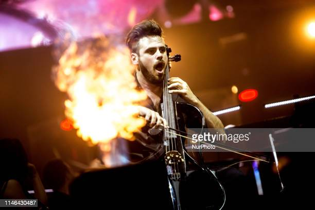 Stjepan Hauser of Croatian cello duo 2Cellos performs live at Mediolanum Forum Luka Sulic and Stjepan Hauser perform internationally and have been...