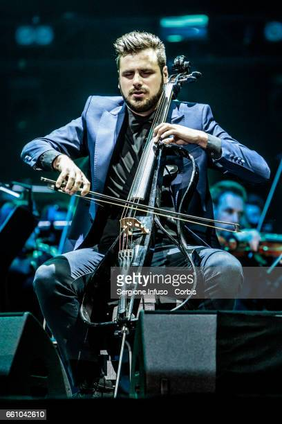 Stjepan Hauser of Croatian cello duo 2Cellos performs on stage on March 30 2017 in Milan Italy